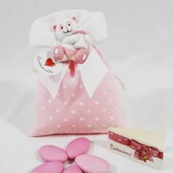 Bustina in cotone a pois bianchi e rosa panda CUOREMATTO LINEA TUTTI PANDA