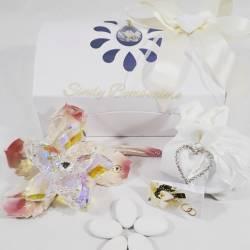 Bomboniera da appoggio matrimonio anniversario rosa in cristallo e ninfea rosa LA DOCA LINEA TRESY