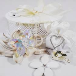 Fiore in porcellana color tortora con farfalla in cristallo swarovski LA DOCA LINEA TRESY