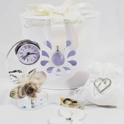 Bomboniera utile orologio argentato con rosa in porcellana LA DOCA LINEA NENSY