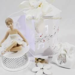 Carillion bianco e argentato con ballerina in porcellana LA DOCA LINEA ARMONY