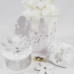 Carillion bianco e argentato con rosa in swarovski e candela LA DOCA LINEA ARMONY
