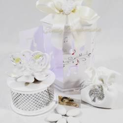 Carillion farfalla in cristallo swarovski su fiore in porcellana LA DOCA LINEA ARMONY