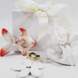 Pesciolino in porcellana rosso e bianco con sacchetto LA DOCA LINEA CREY