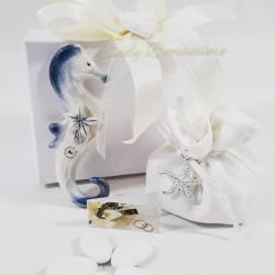 Cavalluccio marino in porcellana blu e bianco con sacchetto LA DOCA LINEA CREY