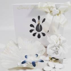 Piatto porta oggetti in vetro lucido con stella marina in porcellana e corallo LA DOCA LINEA CREY