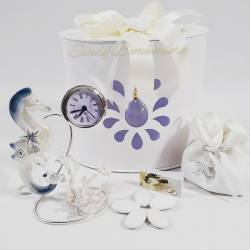 Orologio bomboniera con cavalluccio marino in porcellana e coralli per matrimonio cresima comunione LA DOCA LINEA CREY