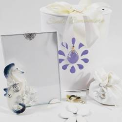 Portafoto in vetro con cavalluccio marino e bianco e blu e coralli LA DOCA LINEA CREY