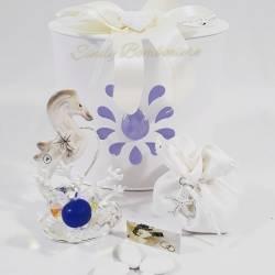 Portacandele con cavalluccio marino in porcellana con fiore in cristallo LA DOCA LINEA CREY