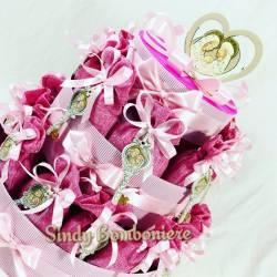 sacchetti per confetti in juta con chiave sacra famiglia per battesimo bimba