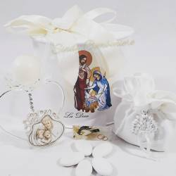 Portacandela con fiore in swarovski e icona sacra raffigurante la sacra famiglia LA DOCA LINEA SCIK