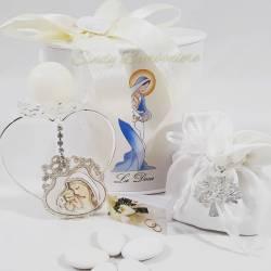 Portacandela con fiore in swarovski e icona sacra raffigurante la maternità LA DOCA LINEA SCIK