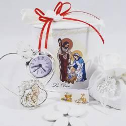 Orologio argentata con farfalla in swarovski e icona sacra raffigurante la sacra famiglia LA DOCA LINEA SCIK