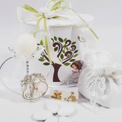Candeliere portacandele prima comunione a forma di cuore con fiore in swarovski LA DOCA LINEA SCIK