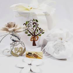Bomboniera da appoggio fiore in porcellana con icona 50° anniversario LA DOCA LINEA NENSY