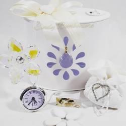 Fiore realizzato con swarovski con orologio argentato LA DOCA LINEA ENTRY