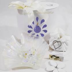 Bomboniera matrimonio anniversario svuotatasche in vetro decorato con fiore in cristallo swarovski LA DOCA LINEA ENTRY