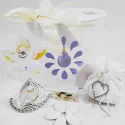 Bomboniera da appoggio prima comunione fiore in cristallo con icona sacra con calice LA DOCA LINEA ENTRY