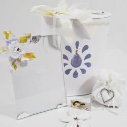 Portafoto con fiore in cristallo swarovski per matrimonio anniversario cresima comunione LA DOCA LINEA SCIK