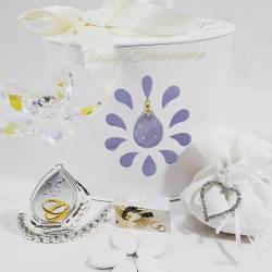 Bomboniera da appoggio venticinquesimo anniversario con fiore in cristallo con icona 25 argentato LA DOCA LINEA ENTRY