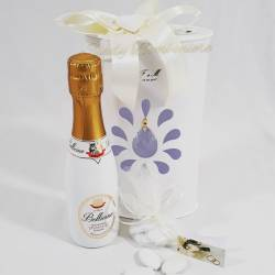 Bomboniera originale matrimonio spumante in scatola con cristallo swarovski LA DOCA LINEA IOBEY