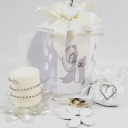 Porta candele a forma di fiore in cristallo con candela bianca con swarovski LA DOCA LINEA CANDLY