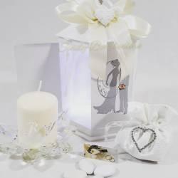 Bomboniera porta candele basso originale fiore in cristallo swarovski con iniziali LA DOCA LINEA CANDLY