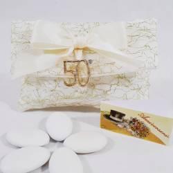 Busta bianca in organza portaconfetti 25° anniversario di matrimonio CUOREMATTO