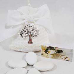 Sacchettino in cotone e organza bianco con ciondolo albero con foglie bianche CUOREMATTO