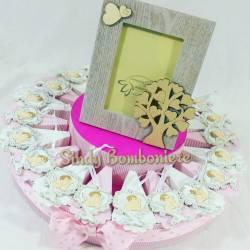 Bomboniere battesimo nascita primo compleanno bimba angioletto torta albero + portafoto