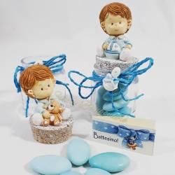 Vasetto in plexiglass con bimba su tappo in sughero eventi compleanno nascita battesimo ETM QUADRIFOGLIO LINEA LEONOR