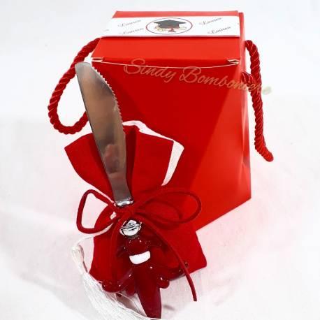 Bomboniera sacchetto per confetti laurea con coltello ETM QUADRIFOGLIO LINEA ARTEMISIA