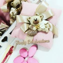 SACCHETTO PORTACONFETTI con calamita orso teddyheart confetti e bigliettino personalizzato
