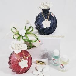 Profumatore in vetro colori assortiti con fiore in ceramica e fragranza CUOREMATTO LINEA CUOR PROFUMO