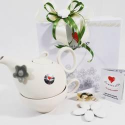 Tea for one bianca in ceramica con fiorellino grigio CUOREMATTO LINEA CUOR FIORITO