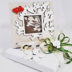 Bomboniera solidale portafoto in legno con albero della vita e cuoricini rossi a magnete CUORE MATTO LINEA CUORE GAIO