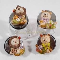 Barattoli bomboniere animaletti magnete fai da te per cresima compleanno comunione