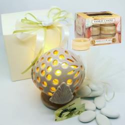 bomboniere porta tea light yankee candle pumo traforato in ceramica completo di confezione