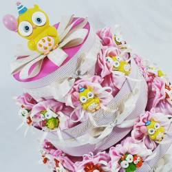 Torta bomboniera porta sacchetti in organza rosa con gufetti colorati PRIMA COMUNIONE BATTESIMO NASCITA