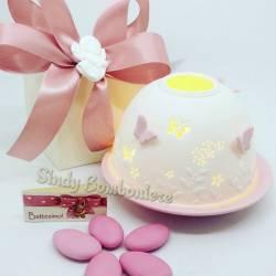 Bomboniera porta candela tea light Yankee Candle in ceramica per BATTESIMO, NASCITA, 1° COMPLEANNO