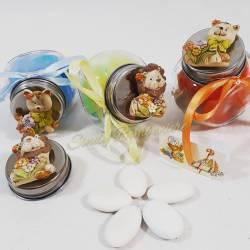 Barattoli bomboniere animaletti magnete per cresima compleanno comunione