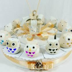 Bomboniere matrimonio torta gufetti lampada in porcellana sposi anniversario