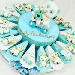 Idea bomboniera 1° compleanno battesimo nascita torta bimbo animaletti magnete assortiti azzurro