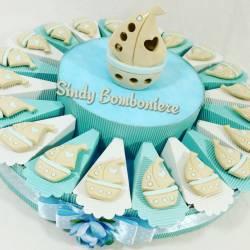 Bomboniere torte battesimo nascita comunione cresima barchetta a vela porcellana magnete lampada BIMBO