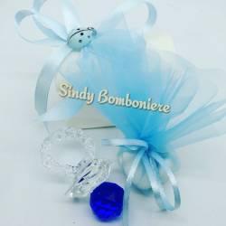 Idea bomboniera nascita battesimo bimbo ciuccio ciuccetto vetro cristallo Swarovsky