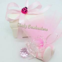Bomboniere originali idee per battesimo nascita bimba ciuccio cristallo Swarosvky rosa