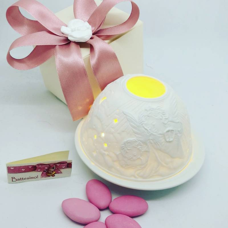 Idee bomboniera originali battesimo nascita portacandela yankee candle tealight bimba angioletto - Decorazioni per battesimo bimba ...