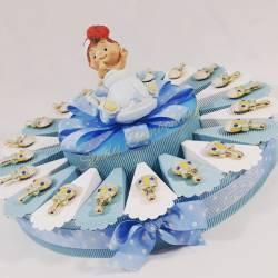 Torta bomboniera per battesimo nascita sonaglio magnete maschietto con centrale macchinina salvadanaio