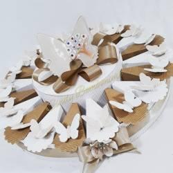 Idea torta bomboniera per matrimonio nozze anniversario cresima FARFALLA GAI MATTIOLO ceramica lucida albero della vita