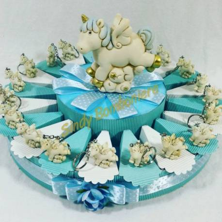 Bomboniere nascita battesimo bimbo unicorno portachiavi panna e celeste